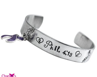 Purple Ribbon Phil. 4:13 hand stamped Cuff charm Bracelet - Domestic Violence, Lupus, ADHD awareness