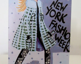 Exclusive New York Fashion Week Greeting Card With Swarovski Crystals By James Thomas Ryan - Blank Inside Card