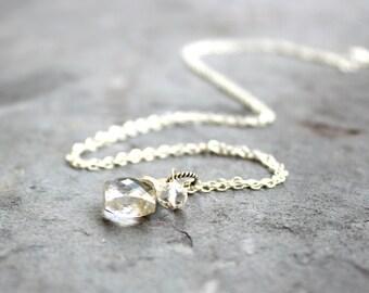 Clear Crystal Quartz Necklace Diamond Briolette Sterling Silver Pendant Necklace Quartz Stone