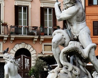 Rome Italy Photography - Fountain of Neptune Photo Piazza Navona Photography Roman Architecture Print Travel Photography Historical