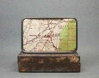 Belt Buckle Taos New Mexico Vintage Map Cool Gift for Men or Women