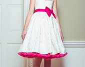 Damask Silk 50's Dress, straps, pattern, bodice, pink, ivory, wedding, vintage, 1950's