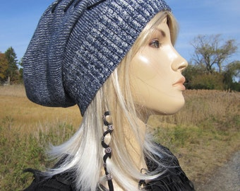 Lace up Slouchy Beanie Hat Hipster Clothing Slouch Beanie Tam Indigo Blue Denim Cotton Baggy Back Knit Hat for Women Winter Hat A1359L