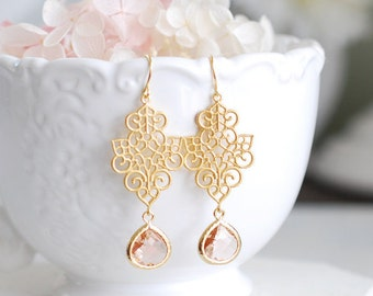 Bridesmaid Gift, Champagne Dangle Earrings, Peach Drop Earrings, Gold Filigree Earrings, Champagne Wedding Earrings, Bridesmaid Earrings