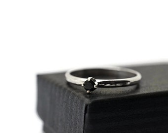 Black Spinel Ring, Minimalist Engagement Ring, Natural Gemstone Jewelry, Simple Silver Ring