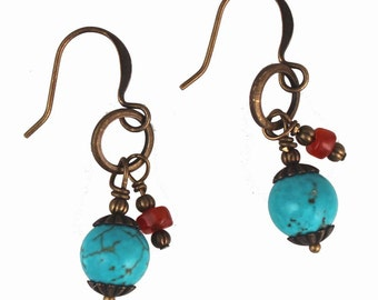 Turquoise Colored Magnesite & Carnelian Wire Wrapped Brass Bronze, Antiqued Gold Dangle Earrings