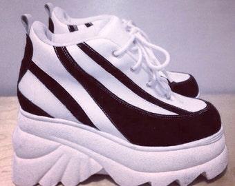 90's Rave Cyber Sporty Spice Wave Stripe Platform Wedge Sneakers // 7
