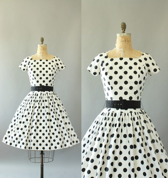 Vintage 50s Dress/ 1950s Cotton Dress/ Black & White Polka Dot Cotton Dress w/ Oversized Waist Belt M