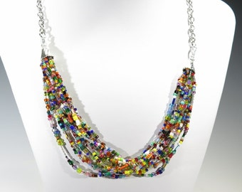Stunning Multiple Strand Necklace with Lots of Colors - Seed Beads - Wear with anything