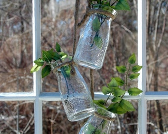 Mini Clear Milk Bottle Flower Vase Stem holder collection for outdoor decor home decor bedroom decor kitchen decor