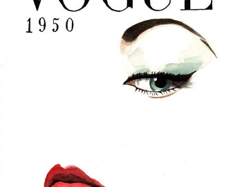 Vintage Vogue. Magazine Cover. Print or Print with Mat. Frame Ready.