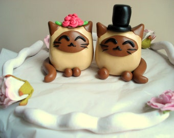 Siamese Cat Wedding Cake Toppers Bride and Groom Mr and Mrs Cake Topper Wedding Decorations Kitty Cake Topper