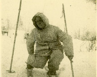 "Vintage Photo ""The Zombie Skier"" Odd Creepy Weird Snapshot Photo Old Photo Black & White Photograph Found Paper Ephemera Vernacular - 91"