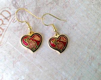 Vintage Heart earrings, cloisonne, flowers and butterflies, dangle earrings, NBW