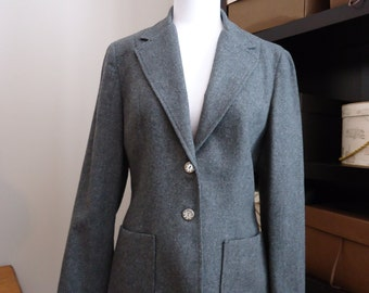Vintage coat, Retro coat, vintage jacket, French vintage, trench coat, rain coat, Wool Gray blazer coat