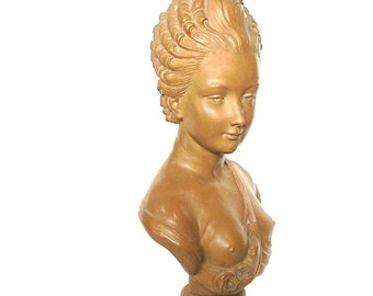 Antique Bust French Art Statute Terracotta Clay Sculpture Artist Caffieri Terre Cuite Semi Nude Bust of Woman France