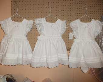 White Pinafore, Eyelet Ruffles, Toddler Sizes 1T to 4T,  Made to Order --FREE SHIPPING in US