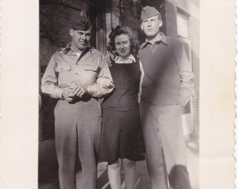 Palling Around- 1940s Vintage Photograph- Pretty Woman Posing with Soldier Pals- WW2 Snapshot- WWII Photo- Paper Ephemera