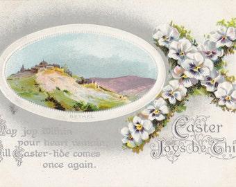 Easter Joys Be Thine- 1900s Antique Postcard- Pansy Flower Cross- City of Bethel- Edwardian Decor- B B London- Birn Brothers- Paper Ephemera