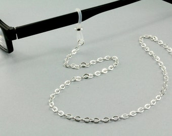 Simple Silver Eyeglass Chain Necklace, Reading Glasses Chain, Reading Glasses Necklace, Silver Lanyard, Silver Reading Glasses Chain Holder