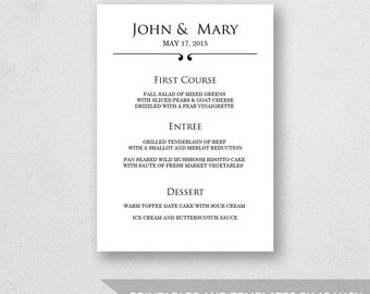 Wedding Menu Template Printable - INSTANT DOWNLOAD - For Word and Pages - Mac and PC - Scroll - 5 x 7 inches