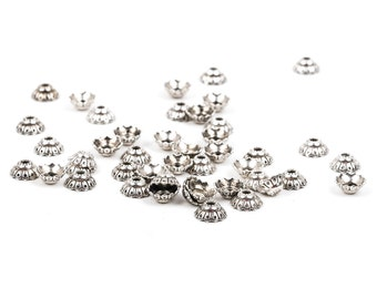 50 Antique Silver FLOWER Bead End Caps, fits 8mm beads, fin0434