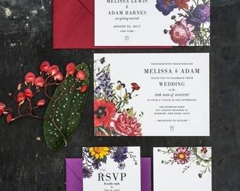 Vintage Botanical Wedding Invitations Printable Set of 4
