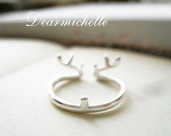 Sterling Silver Antler Reindeer Ring, Christmas Gift, Christmas Jewelry, Winter Ring, Animal Ring, Nature Woodland Ring, Adjustable Ring