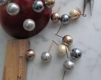 Vintage Glass Pearl  Headpins