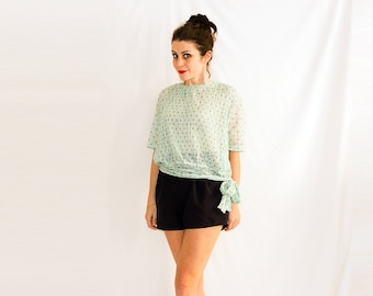 Vintage Polkadot Pleated Lace Pastel Top with Bow Detail.