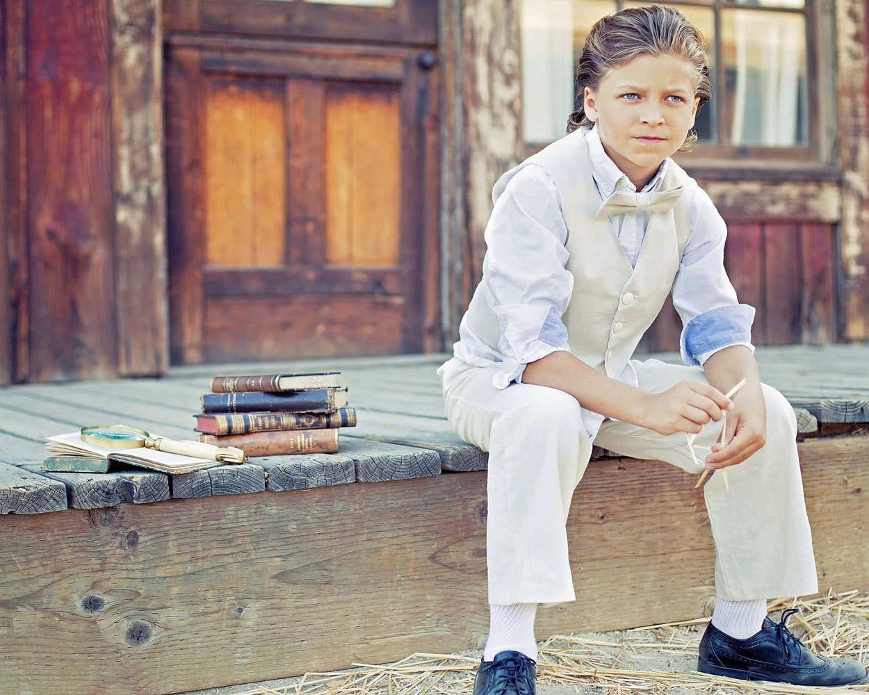 Rustic Ring Bearer suit ivory linen pants vest and bowtie