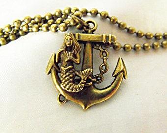 Bronze Pendant Necklace, Nautical Mermaid On Anchor, Mens Womens Gift  Handmade