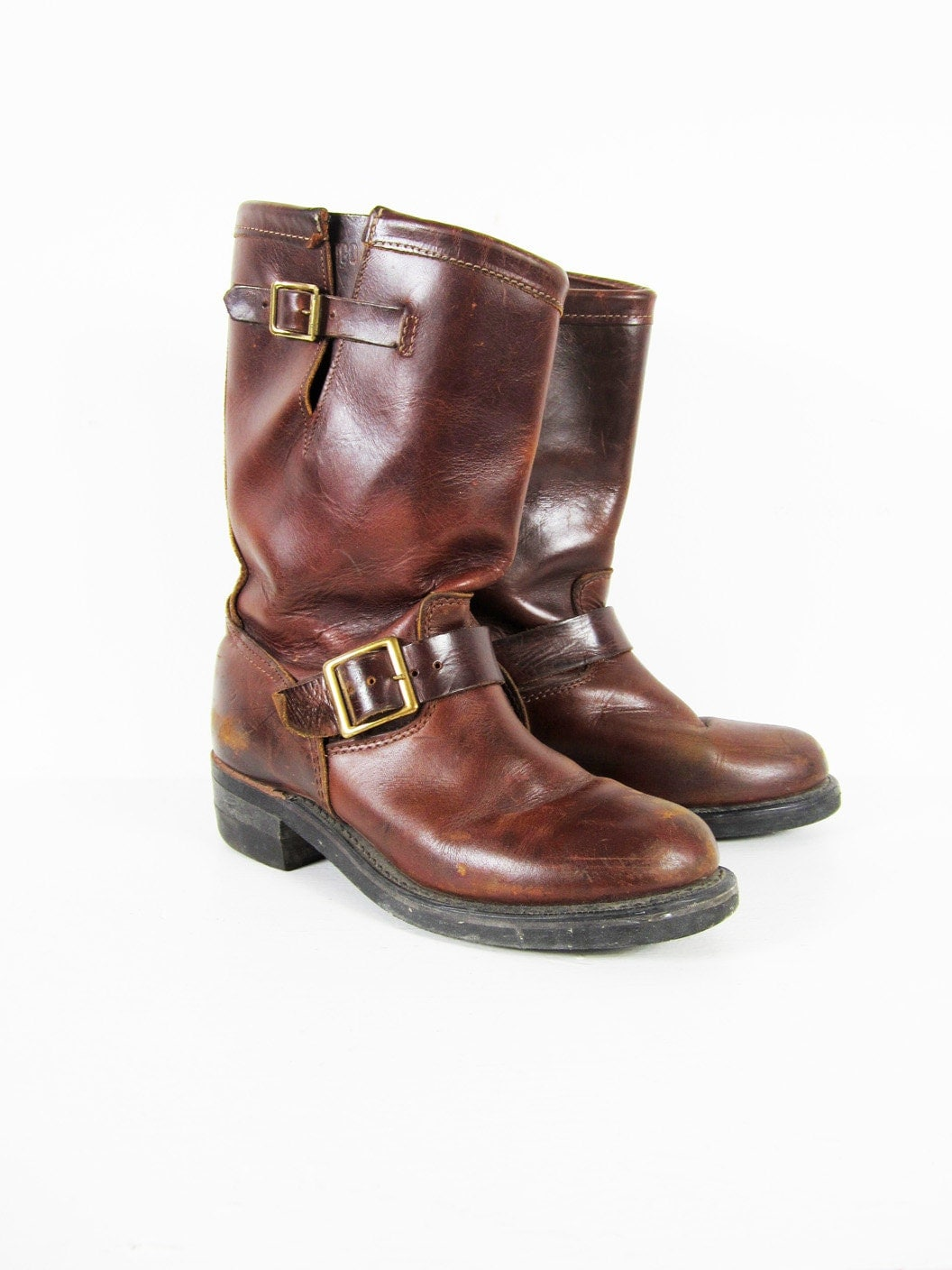 vintage 60s brown engineer boots durango leather buckle