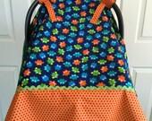 Baby Girl Boy Car Seat Cover Blue Owls Orange Green Minky