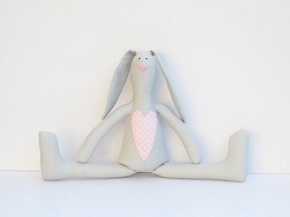 Stuffed bunny white gray pink polka dot bunny rabbit hare softie plush rabbit bunny doll cute stuffed toy birthday gift for boy and girl
