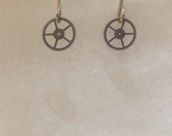 Watch Gear Earrings / Upcycled Earrings / Gear Earrings / Gift for Her / Eco Friendly Gift / Handmade Jewelry