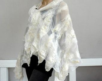 Bridal shawl, wedding shawl, silk shawl, Wedding scarf, white silk shawl, felt scarf, felted scarf, beach wedding scarf, white nature scarf