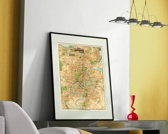 Brisbane map - Old map of Brisbane print - Old city map restored- Large map of Brisbane - up to 30 x 40.5""