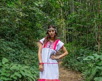Hmong Mini Dress-WHITE with black ethnic batik pattern and PINK pompoms trims / Ethnic / Vintage/Folk