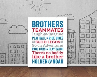 Brothers Wall Art, Boy Room Decor, Brother Quotes, Big Brother Little Brother, Brothers Sign, Choose your color