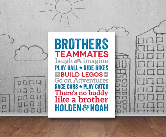 Brothers Wall Art Boy Room Decor Brother Quotes Big Brother