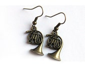 Summer Party Gift Summer Party Gift Music Earrings Steampunk Antique Brass FRENCH HORN Gift for Teacher Jazz Band Orchestra geekery Earrings