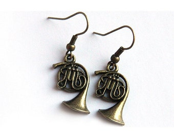 Gift Gift Music Earrings Steampunk Antique Brass FRENCH HORN Gift for Teacher Jazz Band Orchestra geekery Earrings