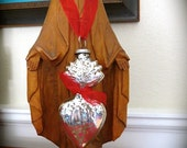 """Ex Voto 5"""" Mercury Glass Santos Adornment for your Religious Statue- pick from 3 colors of ribbon"""