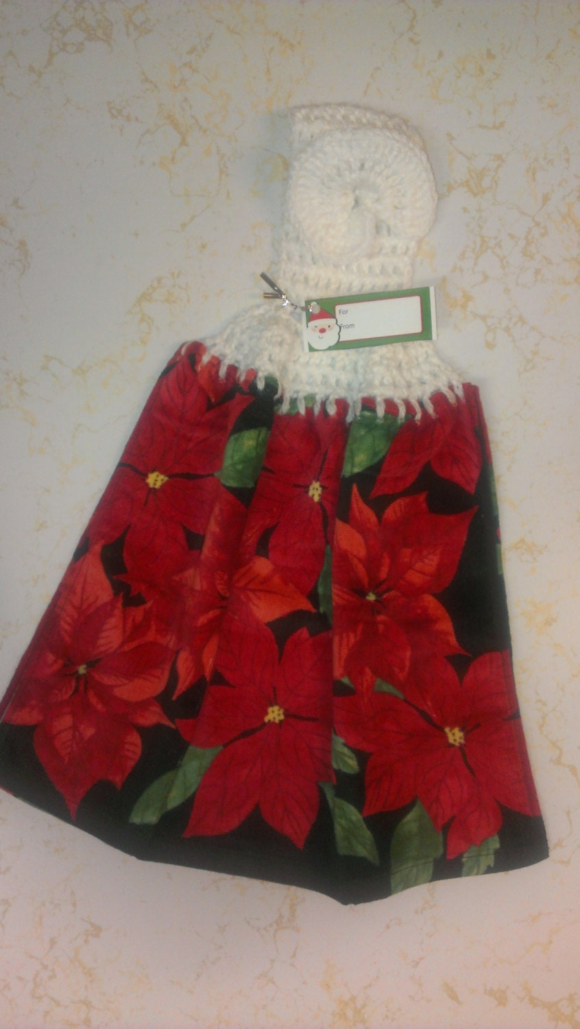 Crocheted Top Christmas Poinsettia Dish Towel by BlessedBlankies