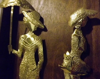 Vintage, Brass, Victorian style ladies, metal wall decor, Home Interiors, brass wall art