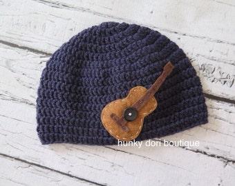Guitar Crochet Knit Boy Hat with Felt Appliqué - sizes Baby to Teen Rock Star Hat