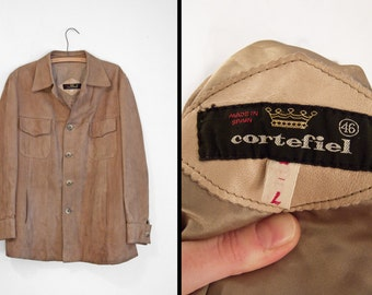 1970s Suede Coat Cortefiel Taupe Rustic Mens 4 Pocket Unisex Jacket