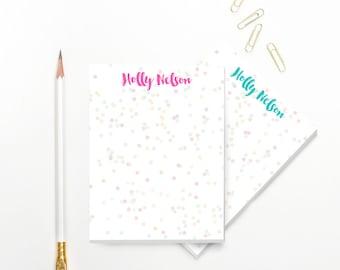 Funfetti Custom Personalized Notepad Personalized Stationary Notepad Set Stationery Gift  Monogram Notepad Teacher Stationary Gift For Her