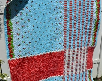 Retro Quilt Modern Handmade Small Twin Large Throw Aqua and Red Turquoise and Red Cherry Vintage Retro Rick Rack Quilt